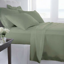 1000 Thread Count 100% Egyptian Cotton Bed Sheet Set OLYMPIC QUEEN Sage Solid