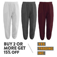 MENS WOMENS CASUAL SWEATPANTS PLAIN JOGGERS FLEECE HOUSE PANTS GYM WORKOUT YOGA