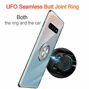 For Samsung S10 S10+ S10e with Car Magnetic Ring Holder Case Soft Silicone Cover