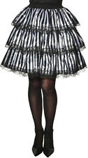 Womens Striped Black & White Ruffle Skirt Gothic Victorian Cosplay Size Standard