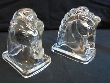 "2 Federal Glass Horses Heads.  5 1/2 "".  Candy Conainer, Bookends"