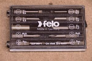Felo 10 Piece Screw Bit Set With Magnetic Bit Holder Quality Made In Germany