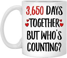 10 Year Wedding Gifts for Him, Funny Coffee Mug for Men - 3650 Days Together Mug