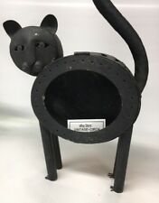 VINTAGE BLACK CAT PRIMITIVE CANDLE HOLDER LIGHT HALLOWEEN  Halloween Yard Decor