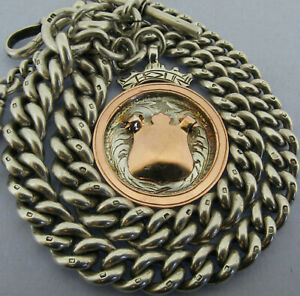 Heavy Antique Solid Silver Double Albert Pocket Watch Chain & Fob 16 Inch 1910