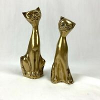 Brass Cats Set of 2 Tall Sitting Vintage Metal Mid Century Figurines