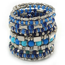 Wide Coiled Ceramic, Acrylic, Glass Bead Bracelet (Blue, Teal, Silver) - Adjusta