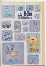 Carte Félicitations.Un bébé Félicitations.bordure relief nacré11 cm x 17 cm.