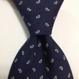 BRIONI Men's 100% Silk XL Necktie ITALY Luxury PAISLEY Geometric Blue/White EUC