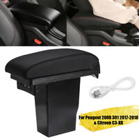 Car Center Console Armrest Storage Box USB Port For Citroen C3-XR Peugeot 2008