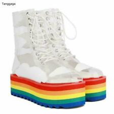 Ladies Women Creeper Lace Up Transparent Ankle Boots Rainbows Platform Pumps