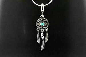 925 Sterling Silver Green Turquoise Tribal Indian Dream Catcher Pendant Necklace