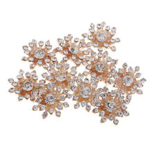 10pcs Crystal Diamante Flower Flatback Gold Buttons Craft Embellishment 15mm