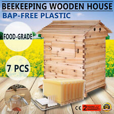 7 PCS Auto Bee Honey Hive Frames + Beehive Beekeeping Wooden Brood House
