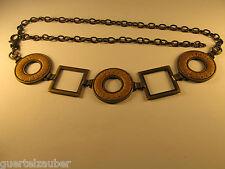CHAIN BELT PLAIT-LOOK KETTENGÜRTEL FLECHTMUSTER Altmessing mit Braun 100 cm