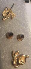 Pair Of Gold Tone Rabbit Whole Stud Earrings Ear Rings Pet Animal gld ER56 UK