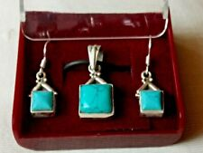 SOLID STERLING SILVER HANDCRAFTED TURQUOISE PENDANT & EARRING BOXED SET £34.95
