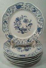 """6 Bohemian Ceramic Works Blue Onion 7 3/4"""" Plates Czechoslovakia"""