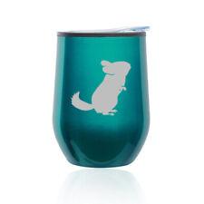 Stemless Wine Tumbler Coffee Travel Mug Glass Cup w/ Lid Chinchilla