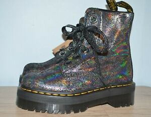 NEW Dr. Martens Women's Molly Boots Iridescent Crackle Gunmetal Size 6