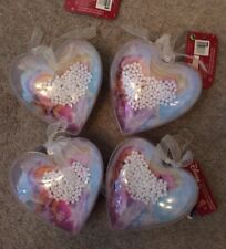 4 Heart Shaped Frozen Christmas Decorations