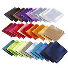 Mens Handkerchiefs 30 Set Solid Color Lot Handkerchief Hanky Pocket Square New