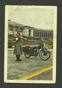Military Police with Motorcycle Vintage 1940s 1950s Rare Card from Belgium