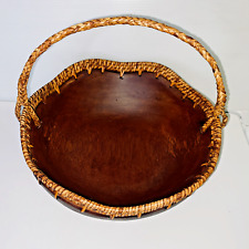 Wood Bowl With Wicker Edging and Handle 12 inch