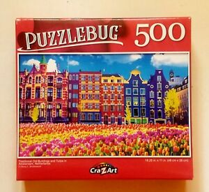Traditional Old Buildings and Tulips Puzzlebug 500 pc New18.25 x 11 Free Shipp