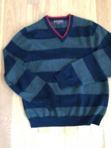 BROOKS BROTHERS Boys  V Neck  Striped Sweater Sz Medium  Merino wool