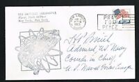 Harold Page Smith (d. 1993) signed autograph Postal Cover Navy Four Star Admiral