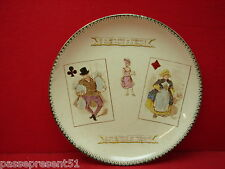 Jolie ancienne assiette, choisy le roi, carte, roi de trèfle, dame de carreau