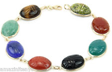 14K Yellow Gold Scarab Bracelet With Large Oval Gemstones 8 Inches