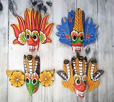 Set of 4 Sri Lankan Handmade Wooden Home Decor Wall Hanging Traditional Mask 4""