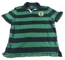 Polo Ralph Lauren L Rugby Polo R39 w Rare 10 Patch Green Black Stripe Custom Fit