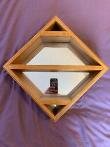 Handmade Solid Oak mirror Shelf square diamond Heavy