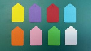 1000 COLOURED KRAFT UNSTRUNG TAGS SWING PRICE TICKET JEWELLERY TIE ON LABEL