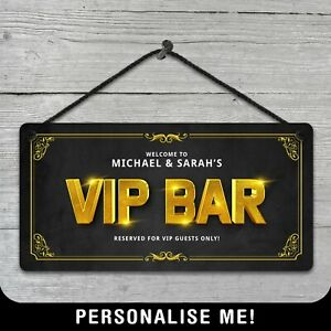 Personalised Hanging VIP Bar Lounge Area Sign Metal Plaque Pub Man Cave Shed