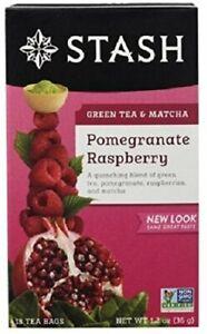 Pomegranate Raspberry Green Tea with Matcha by Stash, 18 tea bag