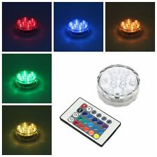 RGB Submersible Waterproof LED 10leds Light Wedding Party Lamp + 24 Keys Remote