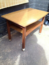DANISH TEAK 1960s Quirky Vintage Coffee Table On Wheels Melamine Art Deco Style