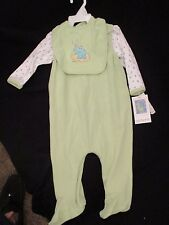 carter's 3 piece  outfit green with t-shirt, bib, and overalls 6-9 mo. NEW