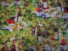 WINE AND CHEESE AND GRAPES ~ Quilting Fabric 100% COTTON (New) 50 x 110 cms