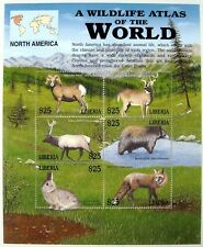 2004 MNH LIBERIA WILD ANIMAL STAMP SHEET WILDLIFE FOX DEER ELK BEAR RABBIT SHEEP