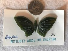 Hand Carved Green Jade Pendant or Brooch Pin Butterfly Wings for Mounting