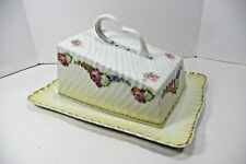 Antique Covered Cheese/Butter Dish Germany Porcelain White Pink Yellow Gold