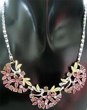 Flowers Plants Rhinestone Enamel Costume Necklaces & Pendants