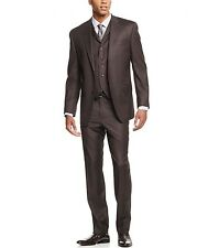 Sean John Men's 3-Piece Olive Pindot 38Short/32W Vested Classic Fit Suit