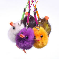 Real Mink Fur Cute Duck Key Chain Key Ring Cell Phone Strap Charms Bag Pendant
