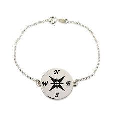 Compass Bracelet - Sterling Silver Personalized Chain Bracelet - oNecklace ®
